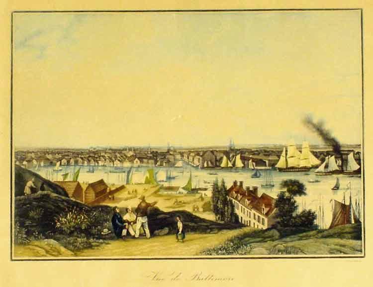 GARNERAY - Mezzotinta coloured view of -  Vue de Baltimore (USA).