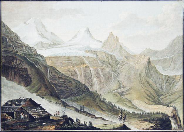 WOLF, CASPAR (1735-1783) & DESCOURTIS, CHARLES MELCHIOR (1735-1820): - Vue de Breit-Lauwinen contre le Glacier du Breithorn.