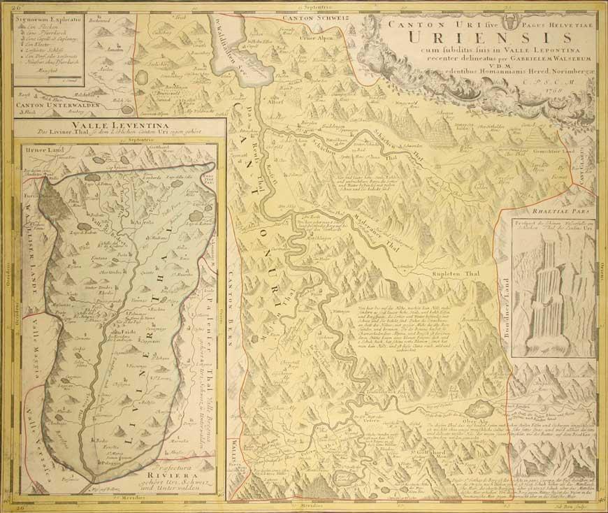 WALSER, GABRIEL: - Canton Uri sive Pagus Helvetiae Uriensis cum subditis suis in Valle Lepontina. Uri mit Nebenkarte Valle Leventina, rechts mit Illustration des Wasserfalls im Schächen-Thal.