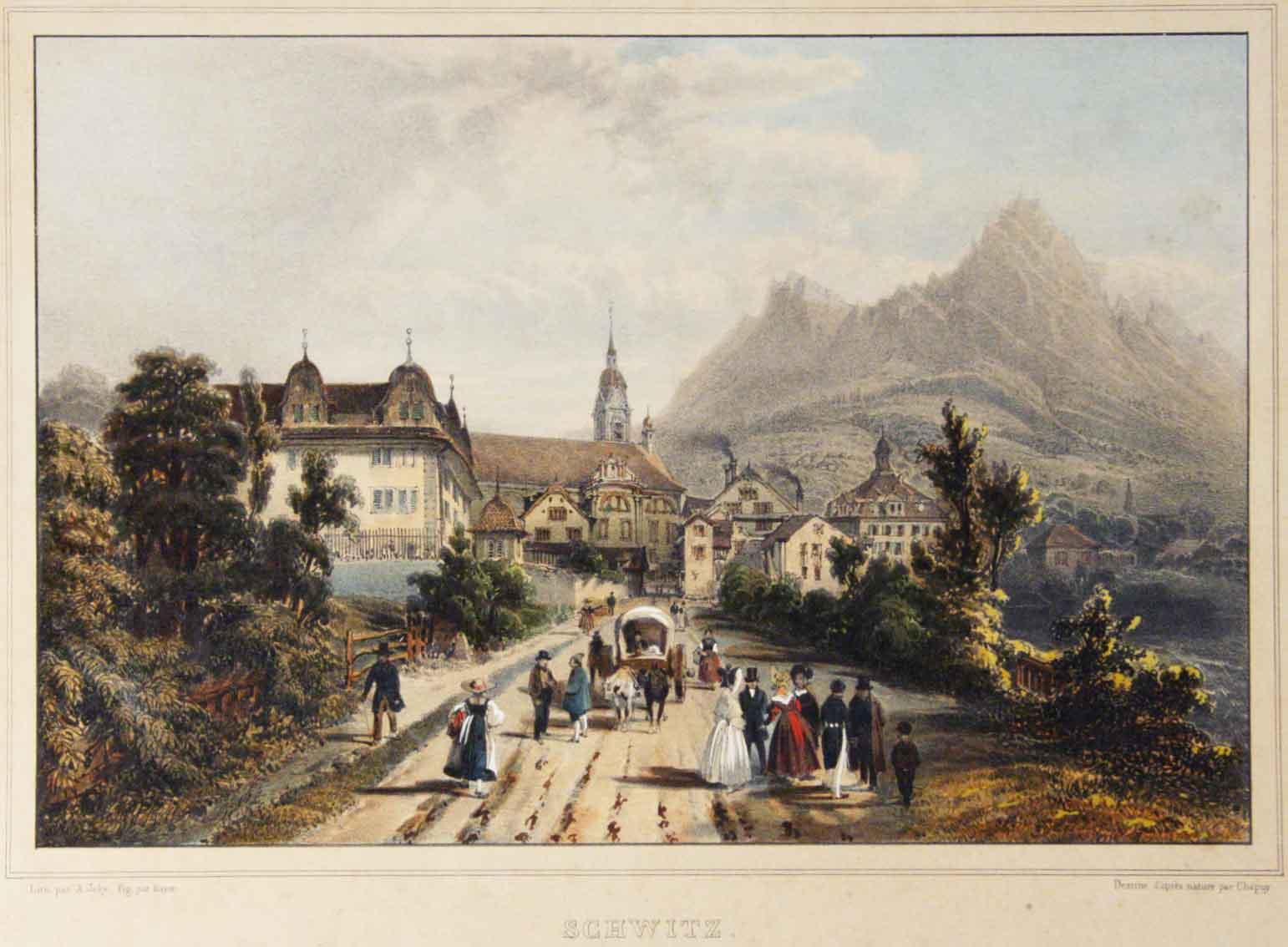 JOLY, A, LITH. (D'APRÈS NAT. PAR CHAPUY / - FIG. PAR BAYOT: - Schwitz (Schwyz) vers les Mythen.