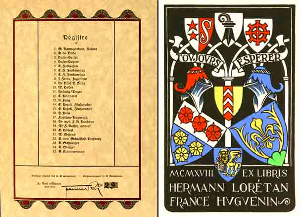 JEANNERET. - - Claude Jeanneret, 25 exlibris, gravés sur bois, imprimés et peints à la main. In Holz geschnitten, von Hand gedruckt und bemalt. (Deuxième série).