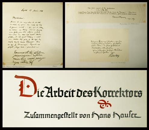 (ORELL-FÜSSLI). - HAUSER (-FAYET), HANS: - Die Arbeit des Korrektors (bei Orell-Füssli in Zürich). Zusammengestellt von Hans Hauser.