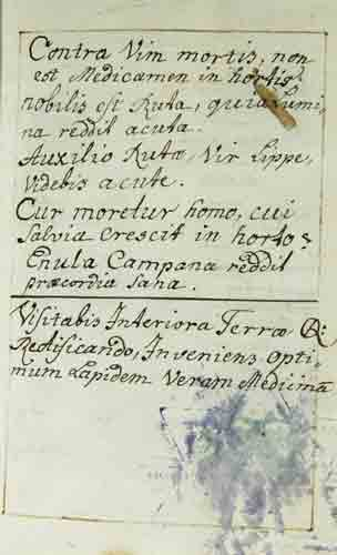 - Artzney-Rezeptbuch.  -  Handschrift mit Sammlung von medizinischen Rezepturen des 18. Jh. in deutscher und lateinischer Sprache.