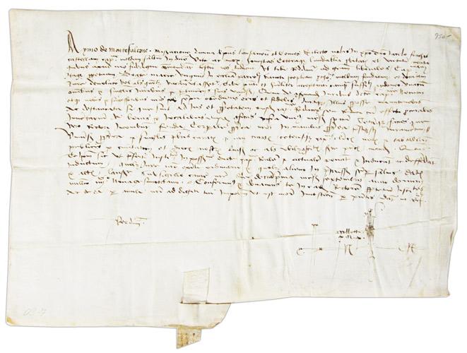 - Moudon. - Document manuscrit sur parchemin. 11 septembre 1498. Aymo de Montfaucon, évêque de Lausanne et comte de Vaud, établit Jacques Frachat, châtelain de Moudon, chapelain de l'autel dédié à la Vierge Marie dans l'église de St-Etienne.
